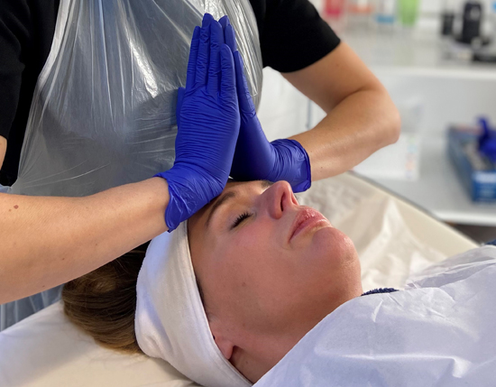 Facial training with skin health solutions